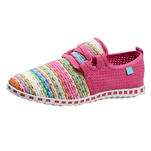 Mysky Fashion Women Comfortable Colorful Weaving Casual Flat Shoes Ladies Brief Breathable Sneakers