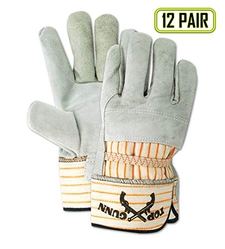 Magid Glove & Safety TB628E Magid Top Gunn Leather Palm and Back Gloves with Safety Cuff, 2XL, Gray, Large (Pack of 12) ()