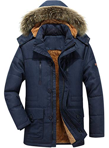 (chouyatou Men's Winter Detachable Hooded Frost-Fighter Sherpa Lined Windbreaker Puffer Coat (Medium, 17Navy)