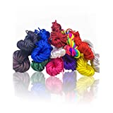 12 bundles 120 Yards 2.5mm Satin/Rattail Cord, Assorted Colors Nylon Beading String for Necklace Bracelet Jewelry Making