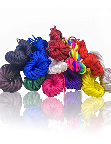 2mm Satin Nylon Trim Cord, Rattail Silk Cord,12 Bundles 120 Yards Assorted Colors Nylon String for Beading Jewelry ()