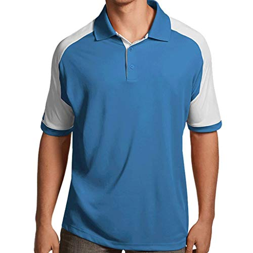 (Antigua Essentials Mens Golf Polo Shirt with Color Block Details Columbia Blue/White Small)