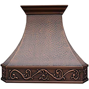 SINDA Classic Hammered Solid Copper Range Hood with High Airflow Cenrtifugal Blower, Stainless Steal Vent with Liner and Internal Motor, Baffle Filter, H3LW3027, 30