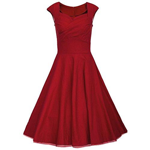WintCO Vestidos Plisados de Estilo de Audrey Hepburn 50s Rockabilly Vestidos de Lunares con Escote Cuadrado para Noche Vestidos de Estilo Vintage con Vuelo Rojo