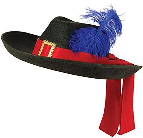 Glossy Look Big Boys' Musketeer Hat Old England Victorian France Cavaliers One Size Black