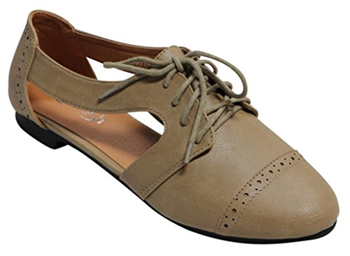 Marty Shoes (Refresh Marty-01 women's casual slip on laced up oxford loafer mary jane cut out flats Tan 6.5)