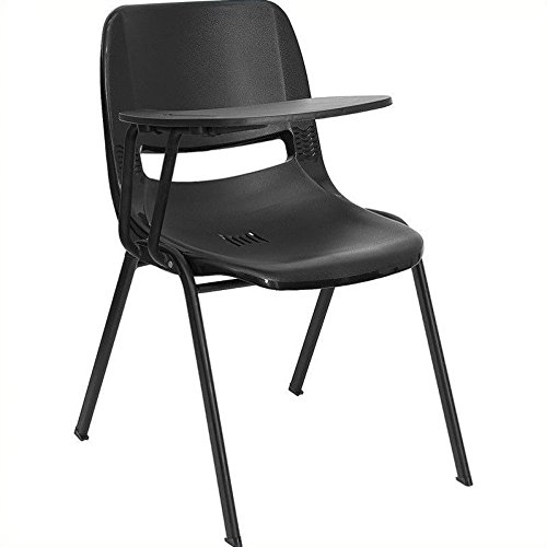 Flash Furniture Black Ergonomic Shell Chair with Right Handed Flip-Up Tablet Arm by Flash Furniture