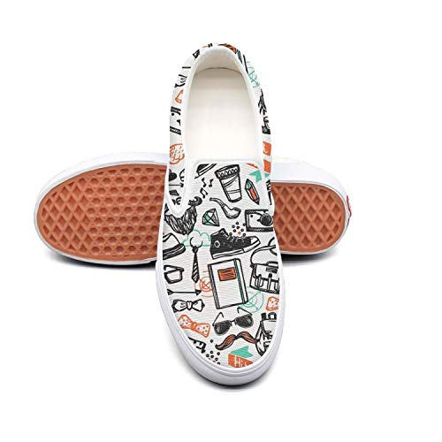 Hipster doodle owls love Non Slip Shoes for Women Sneakers (Slip-On) ()