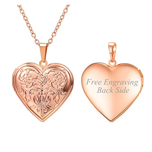 U7 Charm Necklace Flower/Cross Pattern Platinum/Rose Gold/18K Gold Plated Locket Pendant with 22 Inches Chain, 4 Styles (B.Rose Gold Flower Pattern(Personalized))