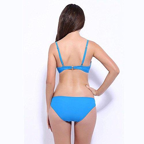 SHISHANG Traje de baño de las señoras del verano Traje de baño europeo y americano del bikiní de la manera atractiva traje de baño de dos piezas traje de baño multicolor Blue