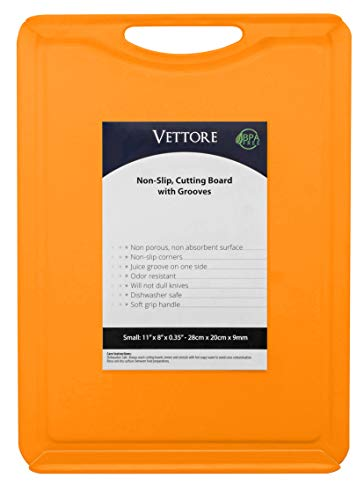 "Vettore Non Slip Poly Cutting Boards With Juice Groove Dishwasher Safe BPA Free Plastic FDA Approved Rubber Feet (11"" x 8"", Solid Orange)"