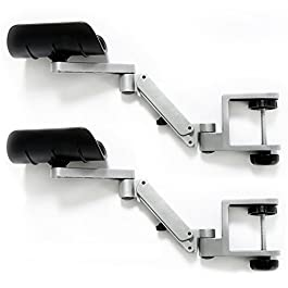 Patu 2 Packs (1 Pair) Rotating Desk Extension Elbow Pad Armrest – Aluminum Alloy Arm Stand Wrist Rest, Ergonomically…