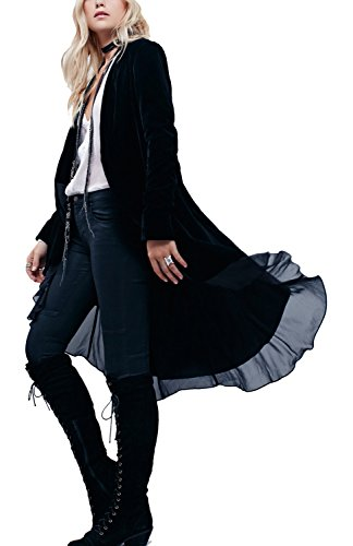 Velvet Blazer Womens (Urban CoCo Women's Long Sleeve Velvet Cardigan Coat with Asymmetric Chiffon Hem(S, Black))