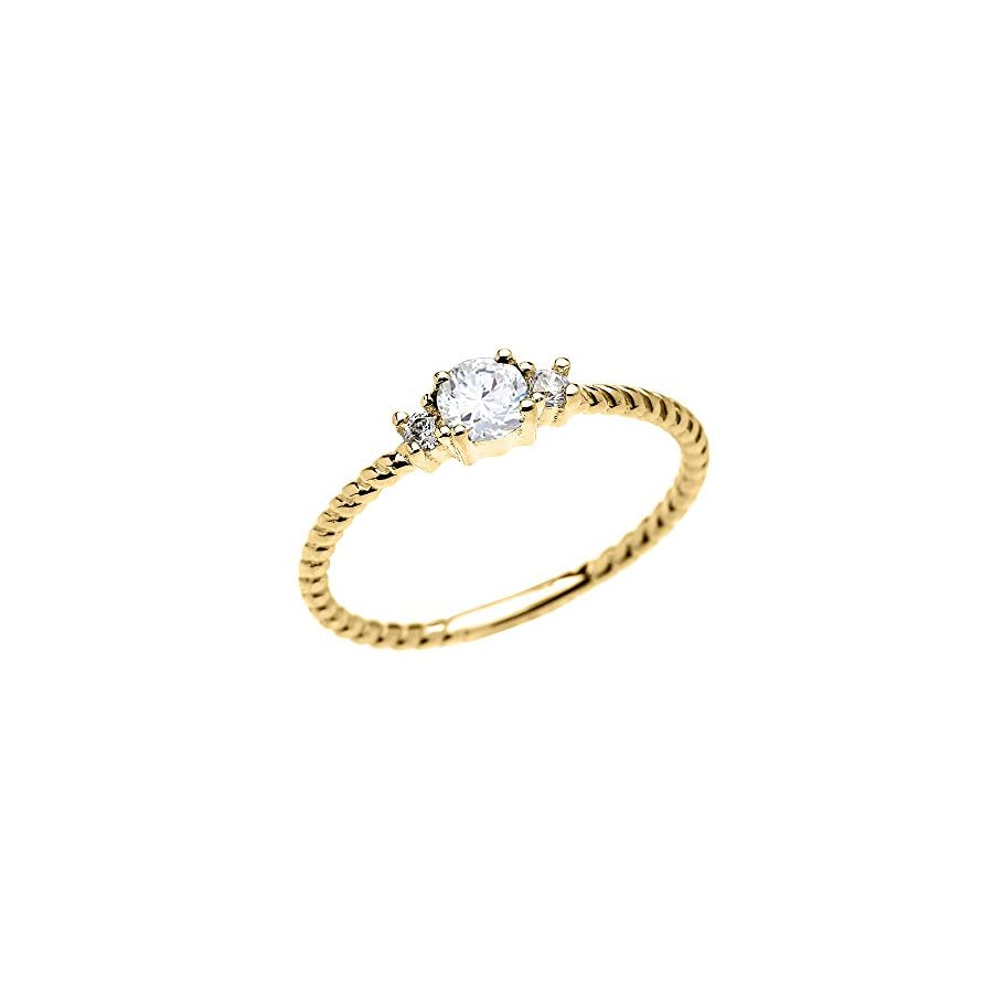 Dainty and Elegant Gold Rings 14k Yellow Gold Dainty Solitaire White Topaz Rope Design Stackable/Proposal Ring