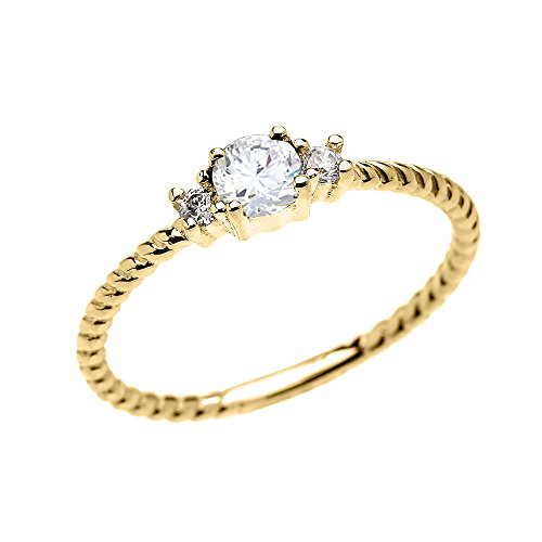 14k Yellow Gold Dainty Solitaire White Topaz Rope Design Stackable/Proposal Ring