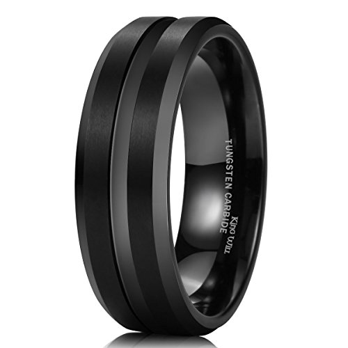 King Will Men Black Tungsten Carbide 8mm Polished Matte Brushed Finish Center Wedding Band Ring 14