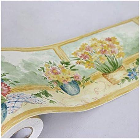 水彩シェブロンブラック&ホワイトピールとスティック 女の子の壁紙装飾壁被覆用水仙の花の壁紙ボーダーロールピール&スティックバスルームキッチンベッドルームウォールボーダー