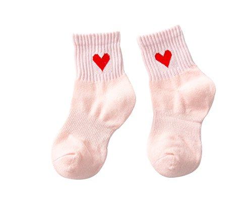 PenGreat Kids Toddler Big Little Girls Fashion Cotton Crew Love Pattern Socks 5 Pairs by PenGreat (Image #4)