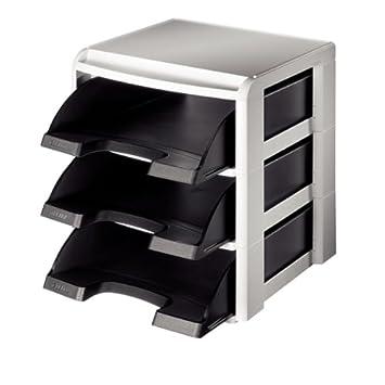 LEITZ Set sobremesa 3 bandejas 244x52x335 mm Negro/Gris A4/Fº 53270095