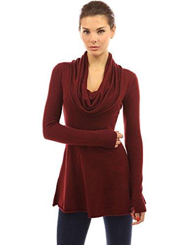 (PattyBoutik Women Cowl Neck A-Line Tunic Sweater (Burgundy Small))