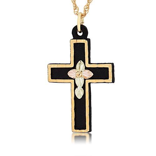 - Black Hills Black Powder Coat Cross Pendant with 10k Gold Trim