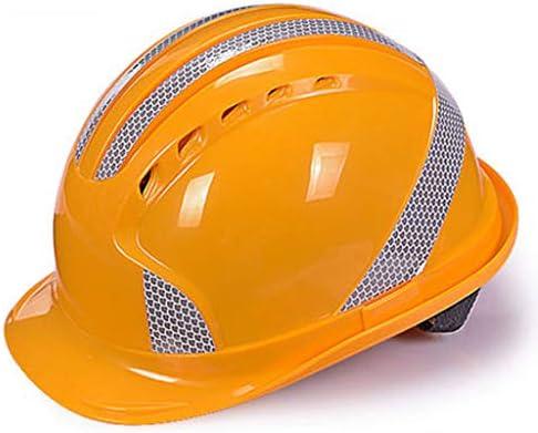 MEI XU 建設安全ヘルメットABS反射ヘルメット建設現場電力建設プロジェクトリーダーシップヘルメット通気性ヘルメット(5色オプション) // (色 : 黄)