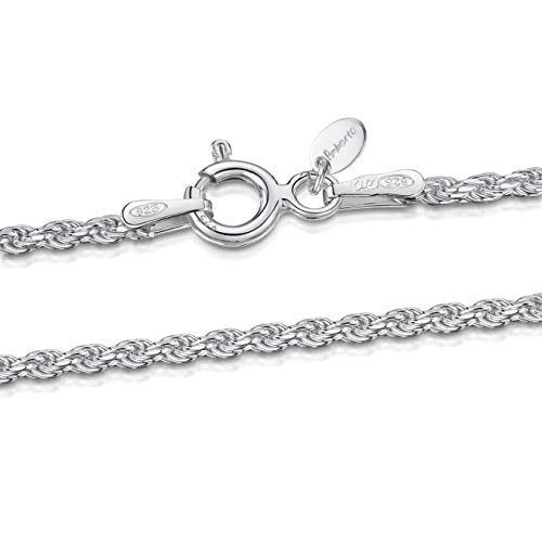 (Amberta 925 Sterling Silver 1.5 mm Twisted French Rope Chain Necklace Length 18