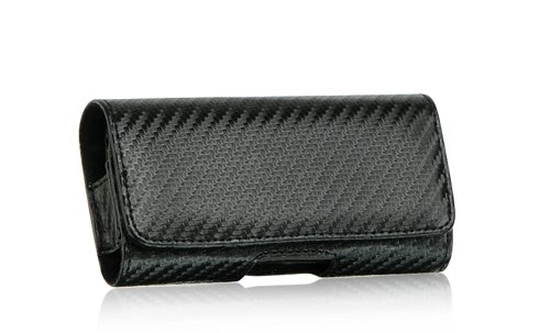 For Black Carbon Fiber Leather Pouch Horizontal Holster Case with Belt Clip for Blackberry Curve 8300, 8310, 8320, 8330, Storm 9500, 9530, 9550, Bold 9000, Onyx 9700 Bold (8300 Carbon Fiber)