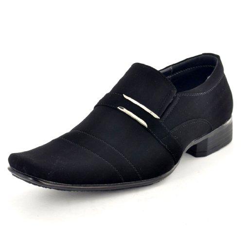 Neue Men'italienische Designer-inspiriert, Slip-On, formell Schuhe, Casual mit Schnalle Schwarzes Wildlederimitat