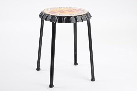 Sgabello pouf metallo con sedile a forma di tappo birra colorato