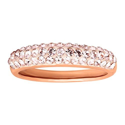 Vintage Swarovski Rose - Crystaluxe Band Ring with Vintage Rose Swarovski Crystals in 14K Rose Gold-Plated Sterling Silver Size 6