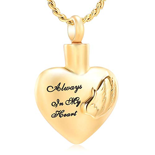 Imrsanl Cremation Jewelry for Ashes Pendant Always in My Heart Urn Necklace for Women/Men Stainless Steel Angel Wings Memorial Keepsake Jewelry- Free Fill Kits ()