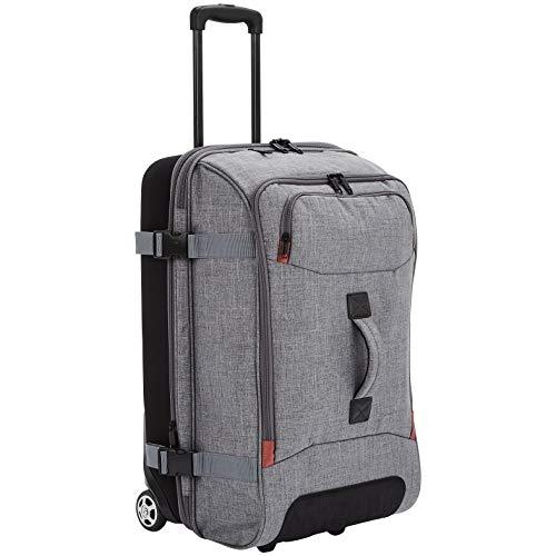 AmazonBasics Rolling Travel Duffel Bag Luggage with Wheels, Medium, Grey