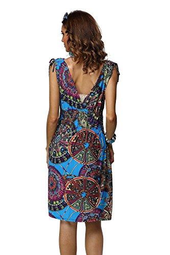 JINHUANSHOW Women's Casual Low-Cut V-Neck Printed Dresses (Medium, MeiBlue-FBA)