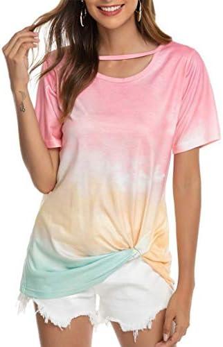 Meikosks Womens Crew-Neck Knot T-Shirt Summer Tie-Dye Printed Tee Tops Short Sleeve Blouses