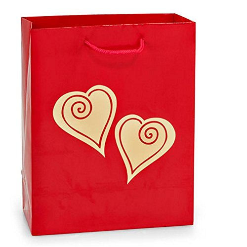 Gold Scroll Heart On Red Gloss Gift Bags - Cub Size - 8x4x10in. - 60 Pack by NW