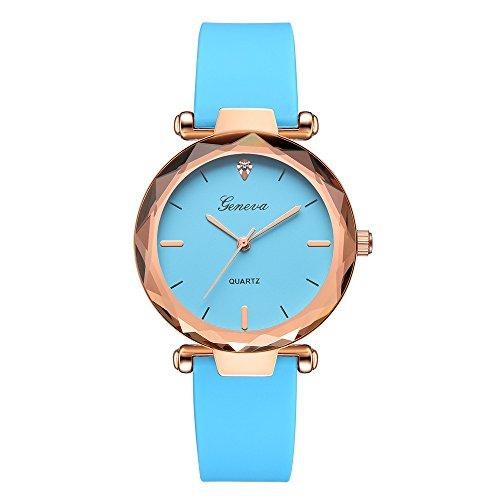 Dial Japanese Quartz Movement - HiGOGO Classic Fashion Women's Ladies Geneva Crystal Diamond Rose Gold Dial Watch Silica Band Analog Quartz Wrist Watchs (Blue)