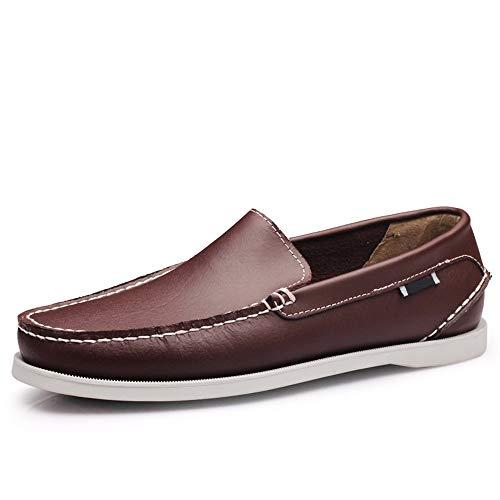 Zapatos Transpirables Hombres Mocasines Suela y de de Marrón Cuero Vaca cómodos de para Antideslizante Suave pHFpqCfx