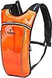 REINOS Hydration Backpack - Light Water Pack - 2L Water Bladder Included for Running, Hiking, Biking, Festivals, Raves (Solid Orange)