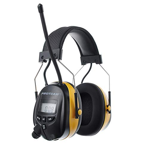 Lcd Digital Lcd Headphones - PROTEAR Digital AM/FM/MP3/Radio Earmuff, Hearing Protector Radio Headphones, Electronic Noise Reduction Ear Defender, Perfect for Mowing Working (Yellow)