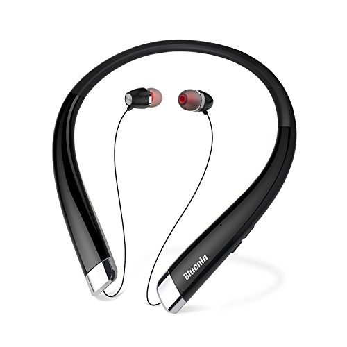 Bluetooth Headphones Bluenin Wireless Headset Stereo Neckband Retractable Earbuds with Mic for iPhone IOS Android(15 Hours Play Time, Bluetooth 4.1, Noise cancelling) (Black)