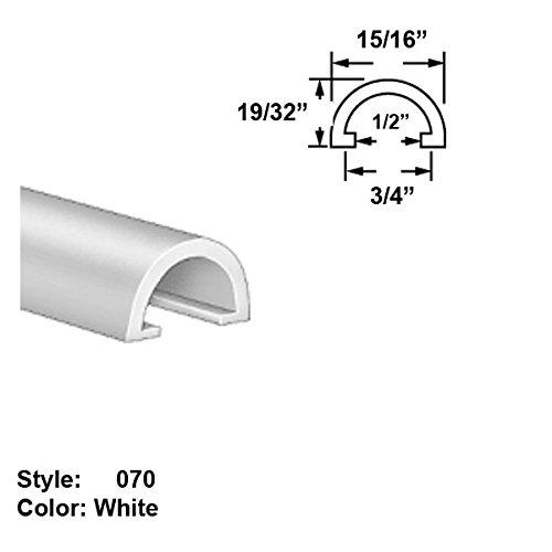 Food-Grade UHMW Plastic Half-Round Push-On Trim, Style 070 - Ht. 19/32'' x Wd. 15/16'' - White - 25 ft long by Gordon Glass Co.