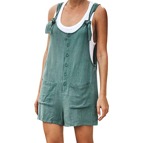 Jumpsuits for Women ♦ Loose Cotton Linen Overalls Wide Leg Short Pants Button Down Tank Tops with Pocket Casual Rompers Green - Evening Glove : Collection Apparel