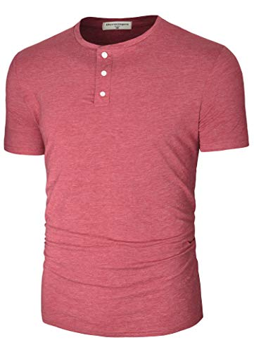 Derminpro Men's Fashion Casual Basic Front Placket Henley T-Shirts Wine Medium