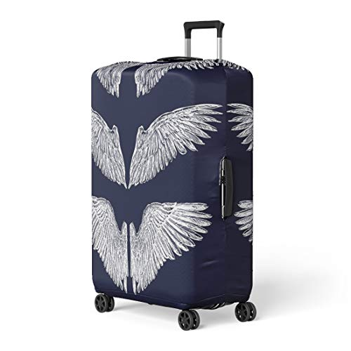 Semtomn Luggage Cover Angel Wings Eagle Vintage Bird Tattoo Freedom Gothic Baroque Travel Suitcase Cover Protector Baggage Case Fits 22-24 Inch ()