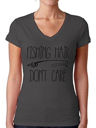 Awkward Styles Women's Fishing Hair Don`t Care V-Neck T Shirts for Women with A Fishing Rod Charcoal L