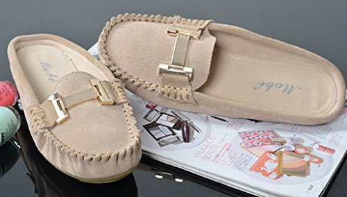 CRC Womens Fashion Comfortable Suede Leather Driving Walking Trail Running Boat Loafers Flats Multi Colored Beige EDf4fkf