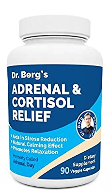 Dr. Berg's Adrenal & Cortisol Relief: Natural Stress & Anxiety Relief for a Better Mood, Focus and Relaxation; Turn Off Your Busy Mind, Vegetarian Ingredients : 90 Capsules