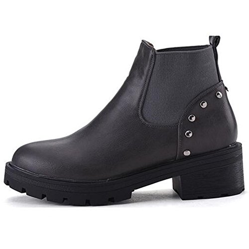 Platform Boots Studded Summerwhisper Ankle Low Chunky Rivets Trendy Heel Gray Elastic Women's Short High wxvHU6q