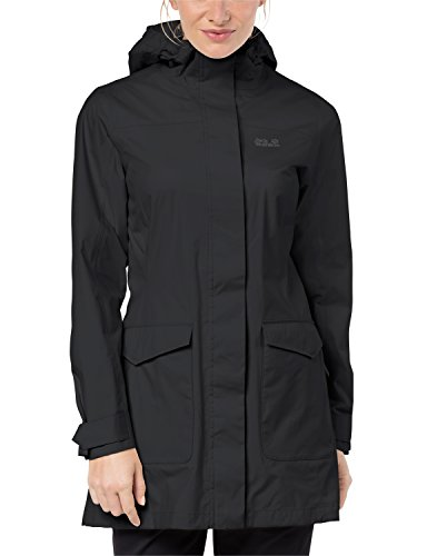 Jack Wolfskin Women's Crosstown Raincoat, Black, Medium